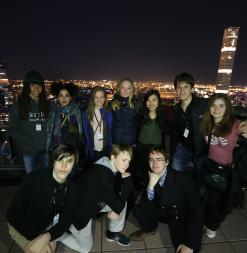 Student pose on Top of The Rock in New York City.
